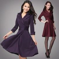 Autumn slim waist one-piece dress ol elegant big clothing, fashion Women Plus Size M L XL XXL XXXL XXXXL 5XL Free shipping