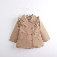 Q3-083 preppy style female child double breasted ruffle wadded jacket child cotton-padded jacket cotton-padded jacket collcction