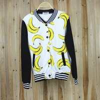 New 2014 fashion autumn winter fruit banana pattern print stripe casual outerwear baseball uniform sweatshirt Free Shipping