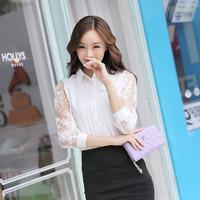2014 autumn women's chiffon shirt female long-sleeve slim shirt basic cutout white shirt