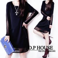 2014 autumn plus size clothing loose long-sleeve dress medium-long elegant basic skirt