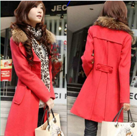 2014 autumn and winter medium-long casual wool coat slim plus size woolen trench type