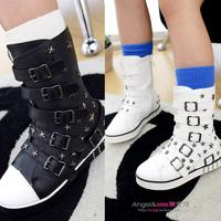 Fashion Girls Rivet Hasp High-leg Boots Shoes 2014 Children New Shoes