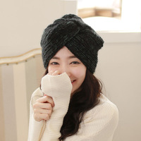 2014 autumn and winter women's knitted hat handmade vintage fashion thermal twisted knitted turban cap