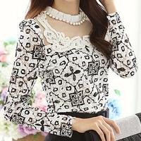 Plus size autumn shirt female 2014 long-sleeve chiffon elegant basic shirt mm lace shirt top