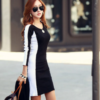 2014 new Korean long-sleeved winter dress round neck stitching bottoming skirt free shipping