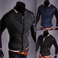 2014 autumn outerwear woolen color block decoration slim casual baseball slim jacket