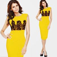XXL Women plus size sheath sleeveless o-neck lace patchwork slim elegant yellow pencil dress summer one-piece dress