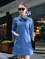 2014 New Arrival Loose Casual Peter Pan Collar Plus Size Slim Waist Womens Denim Dress Short Sleeves Denim Dress