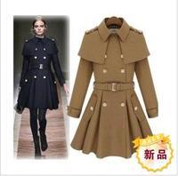 Bow 2014 women's outerwear double breasted wool coat slim wool cape sweet cloak