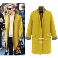 Woolen outerwear 2014 women's one button slim medium-long wool coat
