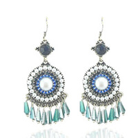 Bohemia national trend vintage crystal long design tassel earrings 925 pure silver female fashion drop earring