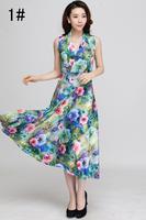 fashion length Print Bohemian maxi dress Women Plus Size dress L XL XXL XXXL Free shipping V-neck milk silk dress HL140926-A