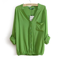 2014spring and autumn Women's blouses cotton chock, Standing collar European Style Shirts candy-Colored long-sleeved shirt D1276
