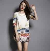 2014 Fashion O-Neck Loose Plus size autumn and winter clothing loose one-piece dress half sleeve beading print women dress hot