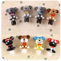 Grey violence bear plugy earphones dust plug symphony three-dimensional doll  for    mobile phone