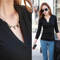 Autumn V-neck long-sleeve T-shirt 2014 women's slim solid color cotton knitted basic Tops Vintage Bodycon Elegant Basic T Shirt
