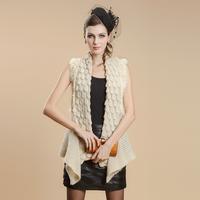 2013 fur vest female rabbit wool knitted medium-long outerwear fur cape