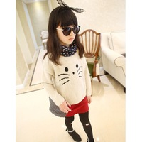 Children o-neck cat sweet pullover sweater girls' top fashion sweater