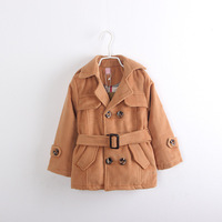 Q3-086 male child faux double breasted girdle trench overcoat child outerwear collcction children's clothing