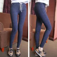 S M L XL All-match Fashion Elastic Jeans Cotton Full Length Women Pencil Pants Jean Trousers Legging Drawstring Female Capris