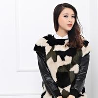 Camouflage ruslana korshunova casual pullover sheepskin patchwork rabbit fur coat 2014