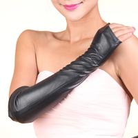 2014 Fashion Women Long Leather Gloves Long Genuine Gloves Winter Gloves Fingerless Gloves