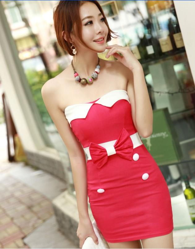 2014 summer women's sexy tube top dress formal slim hip slim one-piece dress(China (Mainland))