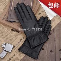 2014 Genuine leather gloves women's lovers design autumn and winter plus velvet thickening thermal male thin women's sheepskin