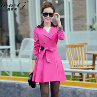 Free shipping 2014  women's trench medium-long double breasted outerwear slim trench female outerwear