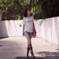 Mfhk 2014 - new arrival summer product fashion star product letter short-sleeve t-shirt female