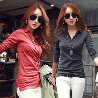 NEW 2014 fashion women girl casual clothing shirts t-shirts tops tee women blouse Pure color render v-neck fashion slim shirt