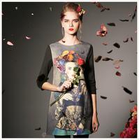 9996 2014 women's spring handmade diamond three quarter sleeve slim one-piece dress