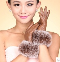 2014 Fashion Women Winter Leather Gloves Female Thickening Winter Gloves Touch Screen Gloves