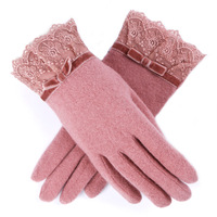 Hot sale 2014 Lace bow autumn and winter plus velvet thickening thermal wool gloves female