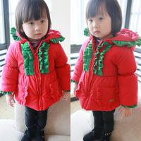 warm baby girl hoodie children's clothing winter cotton wadded jacket kids hoody girls red christmas coat baby girl hooded coat