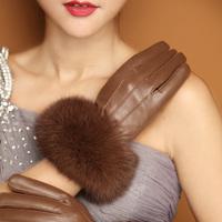 2014 Fashion Women Gloves Winter Warm Gloves Genuine Leather Gloves with Rabbit Fur