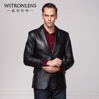 Male leather clothing genuine sheepskin leather clothing medium-long slim outerwear leather jacket male