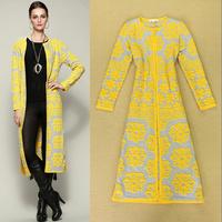 Best Grade 2014 Women Cardigan Knitting Flower Patterns Full Sleeve Long Sweater Cardigans Ladies Coat