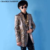 2014 new original designed Men's nightbar singer costumes jacket Male Leopard print PU long design suit clothes