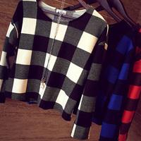 2014 autumn and winter fashion gentlewomen small big all-match plaid short design women's long-sleeve T-shirt female