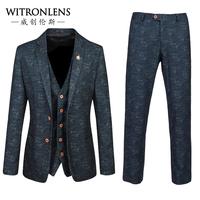 Male suit triangle set slim business formal blazer male formal dress set