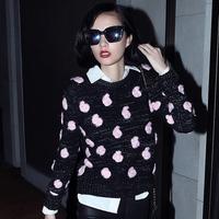 Mfhk luxury high quality 2014 fashion hot three-dimensional flower rose sweater blending