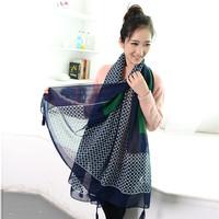 Fashion female silk scarf  air conditioning cape sun beach towel