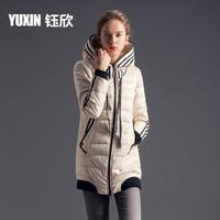 Formal with a hood sports medium-long slim female down coat