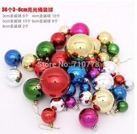 36pcs 3cm/4cm/5cm/6cm/8cm mixed christmas ball light plastic ball christmas tree decoration ball