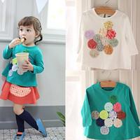 2014 children's spring and autumn clothing female child basic shirt baby child single female t-shirt handmade circle top