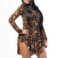 Fashion sexy long-sleeve irregular leopard print bandage one-piece dress