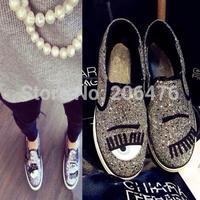 Drop shipping DIY 2014 women new style Flats big eyes lips lipstick gold genuine leather women shoes plus size 35-39