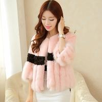 2014 New Winter Short Raccoon Fur Fox fur Lambswool Coat For Women Real Full Pelt Fur Overcoat Fashion Elegant Real Fur Jacket